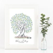 A3+ Rabbits Wedding Fingerprint Tree - Guest Book Alternative - Bride and Groom Keepsake
